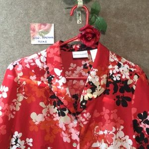 ALFRED DUNNER SZ 14 BLOUSE NWOT. RED BLACK WHITE